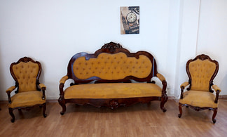 Nineteenth century walnut sofa armchairs