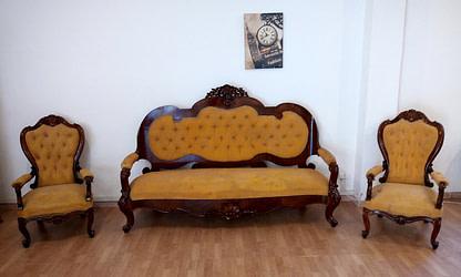 Nineteenth century walnut sofa armchairs