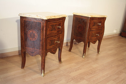 Inlaid Louis XV style bedside tables, 1920, set of 2