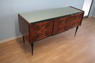 Vintage low sideboard in 1960s Italian walnut briar